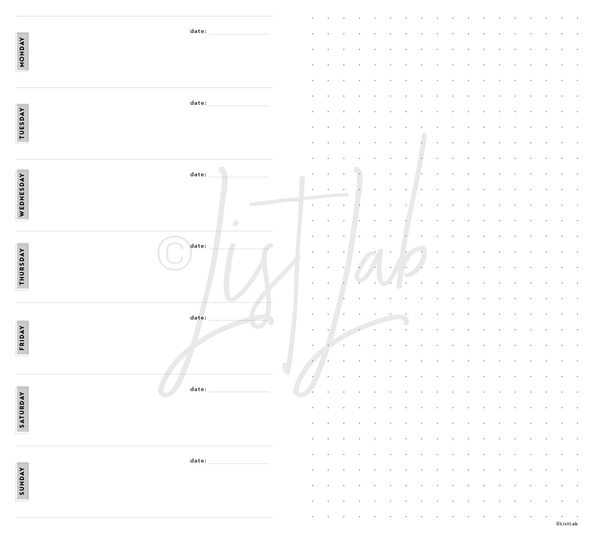 1-PAGE WEEKLY VARIATION: 1 PAGE WEEKLY AND DOTTED PAGE (WO1P H WITH VARIATION)