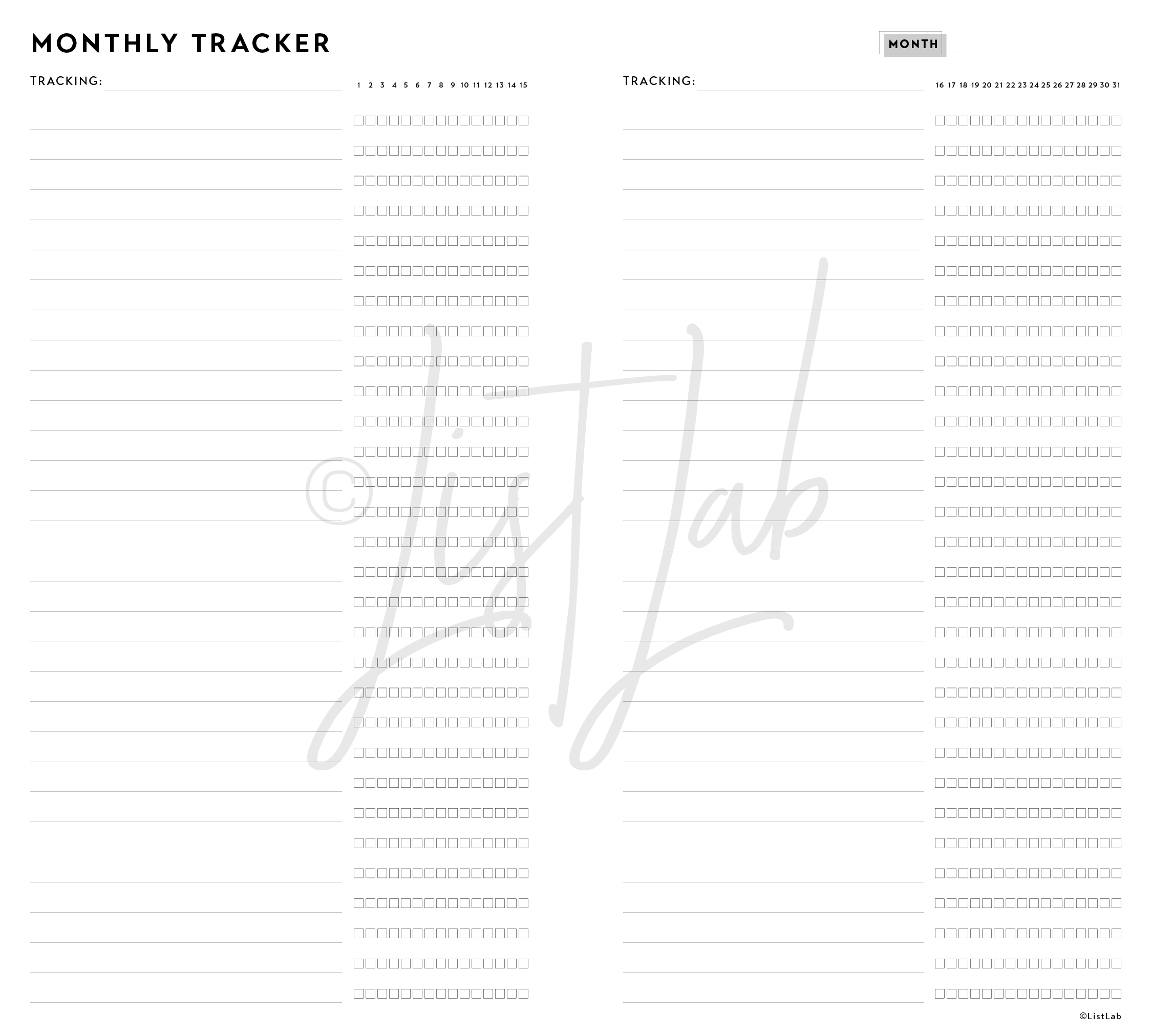 2-PAGE MONTHLY TRACKER