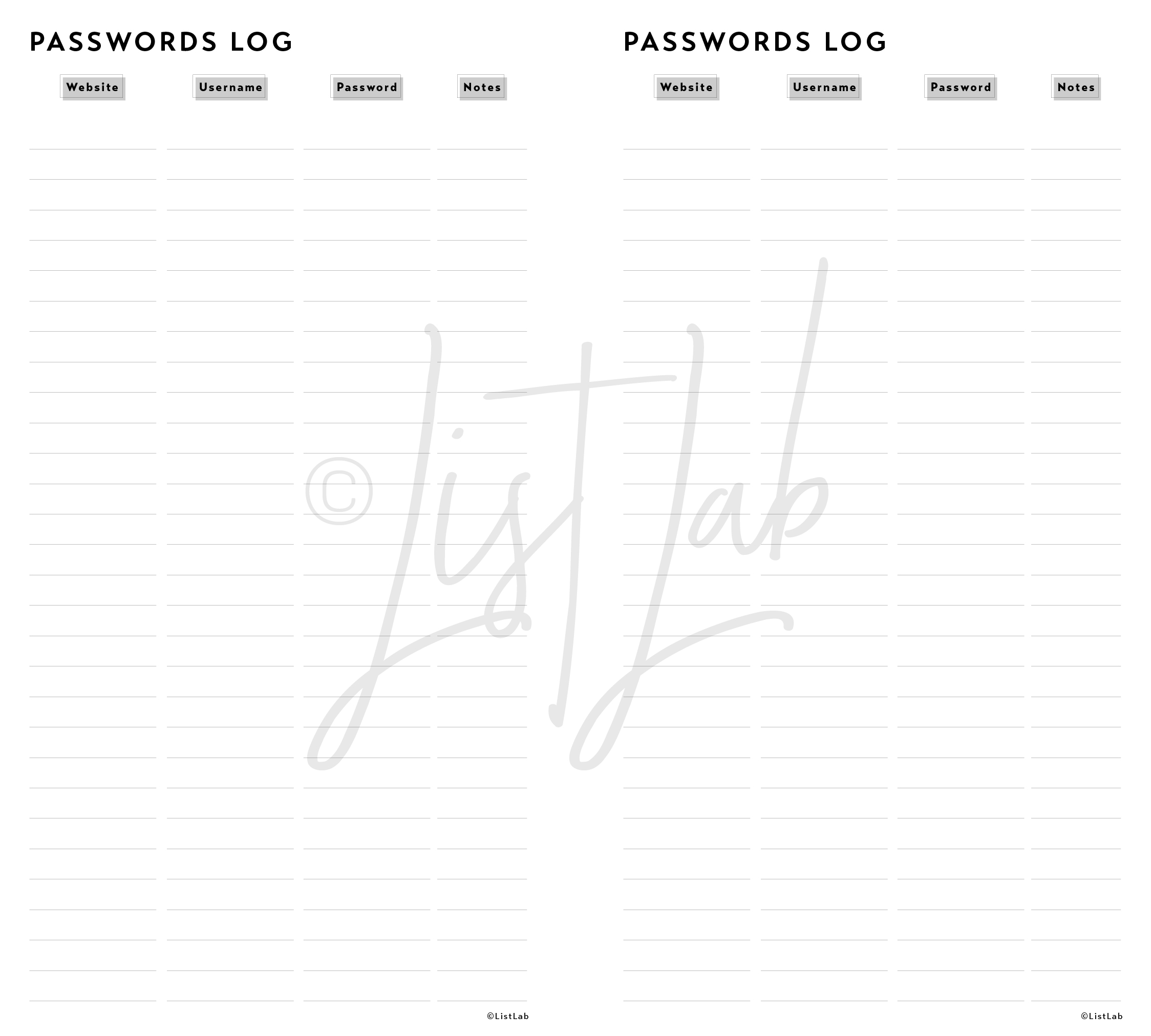 PASSWORDS LOG