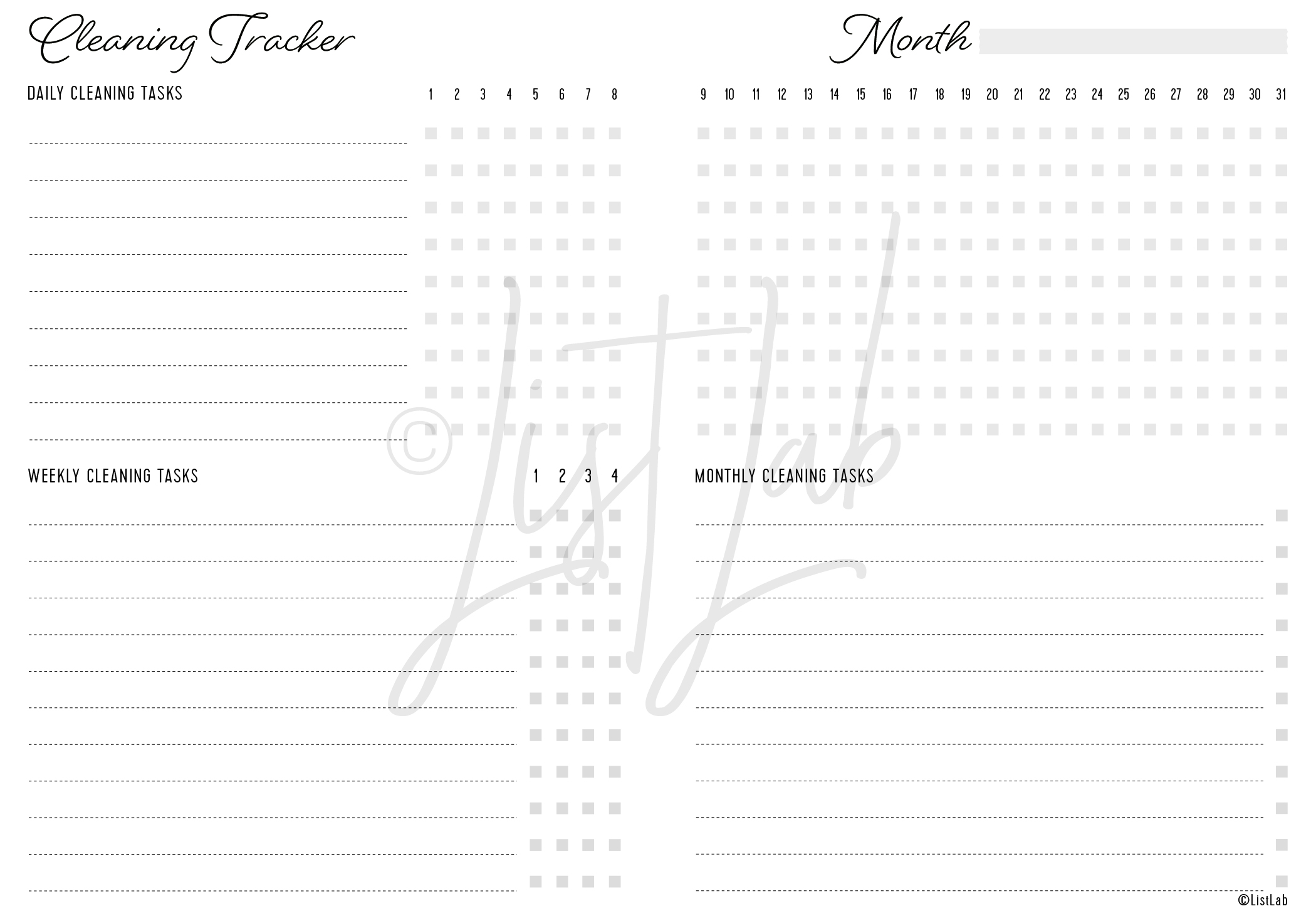 2-PAGE CLEANING TRACKER