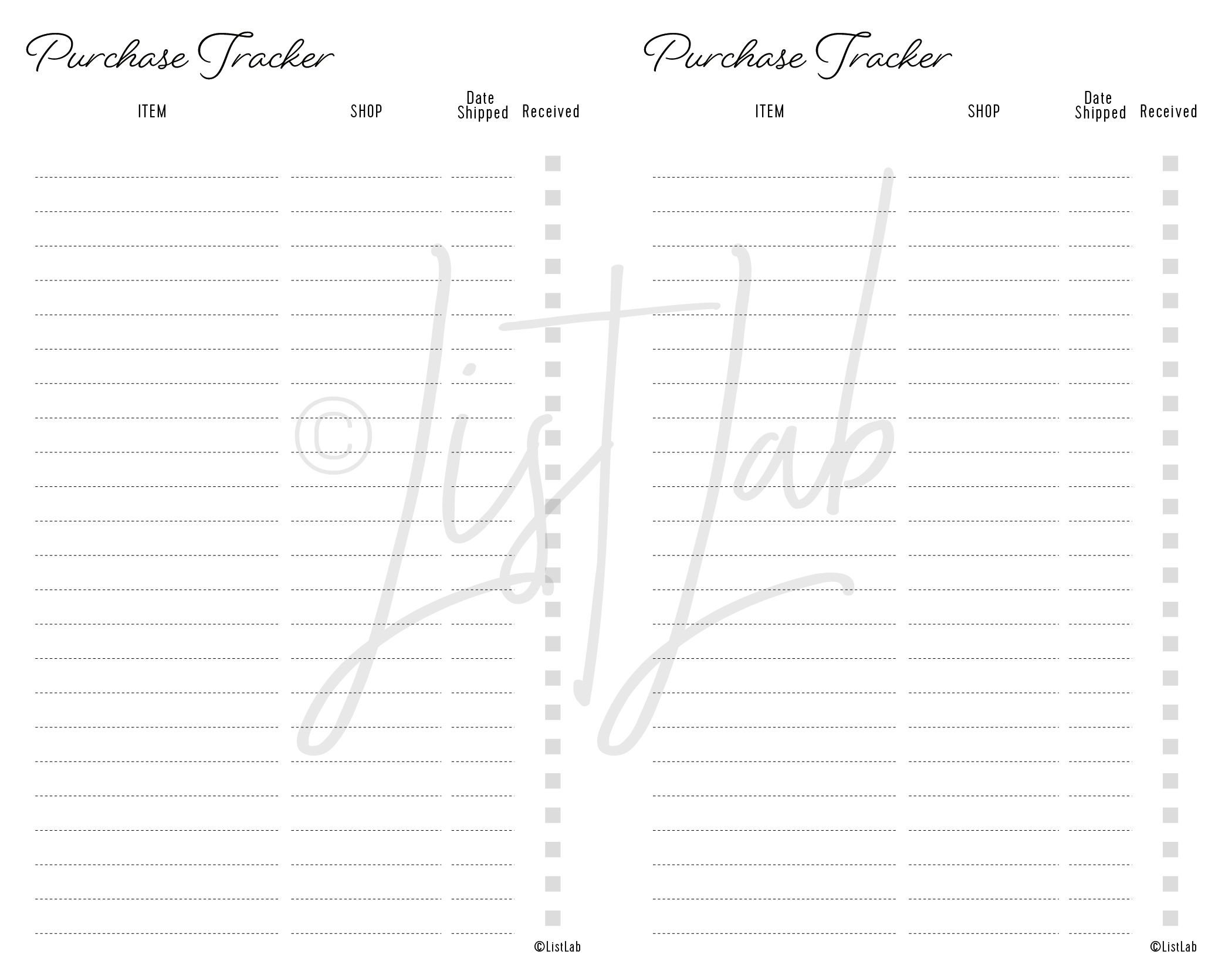 PURCHASE TRACKER
