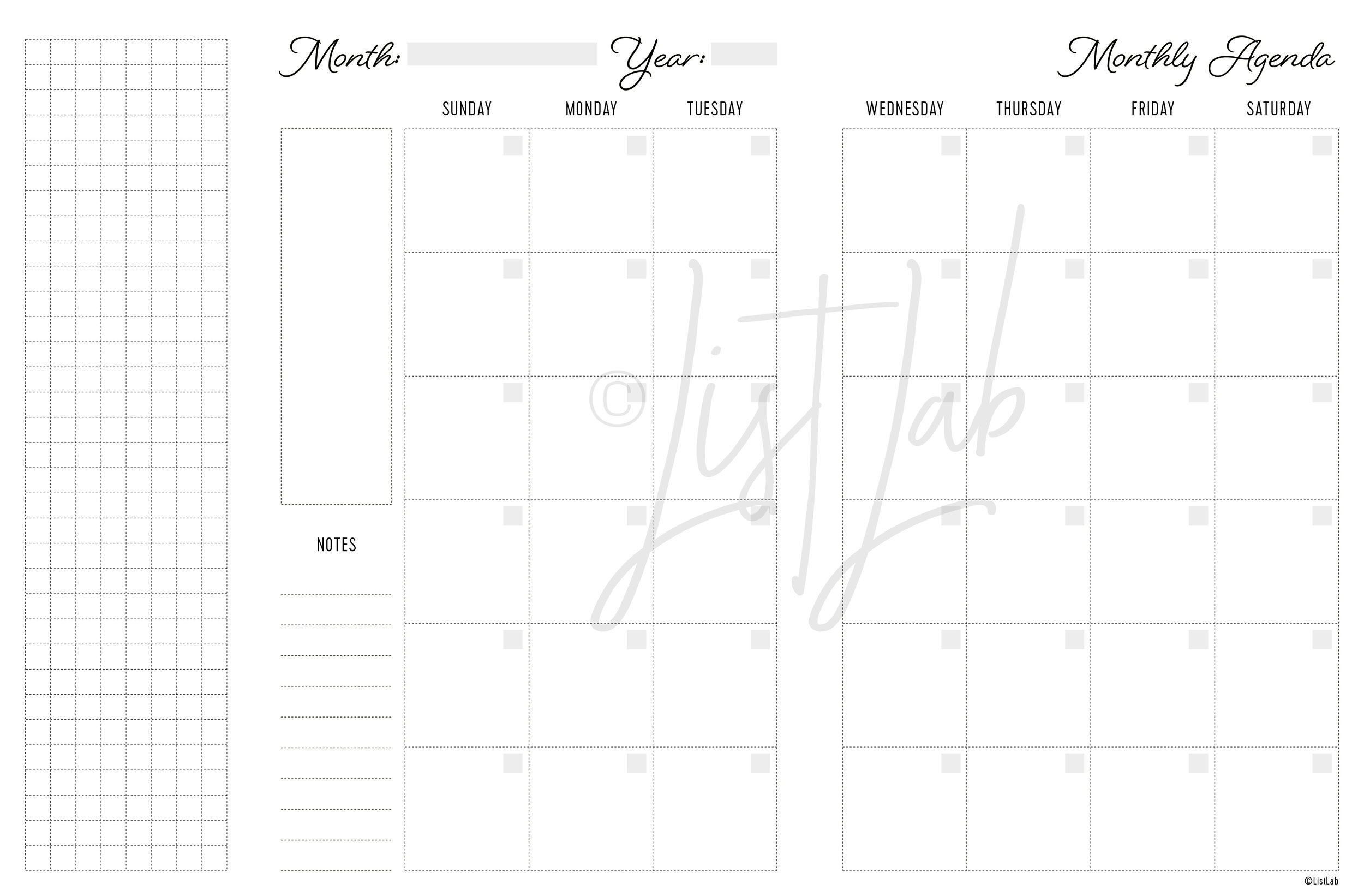 2-PAGE MONTHLY WITH GRID FLAP SUN TO SAT (MO2P FOLD SUN TO SAT)