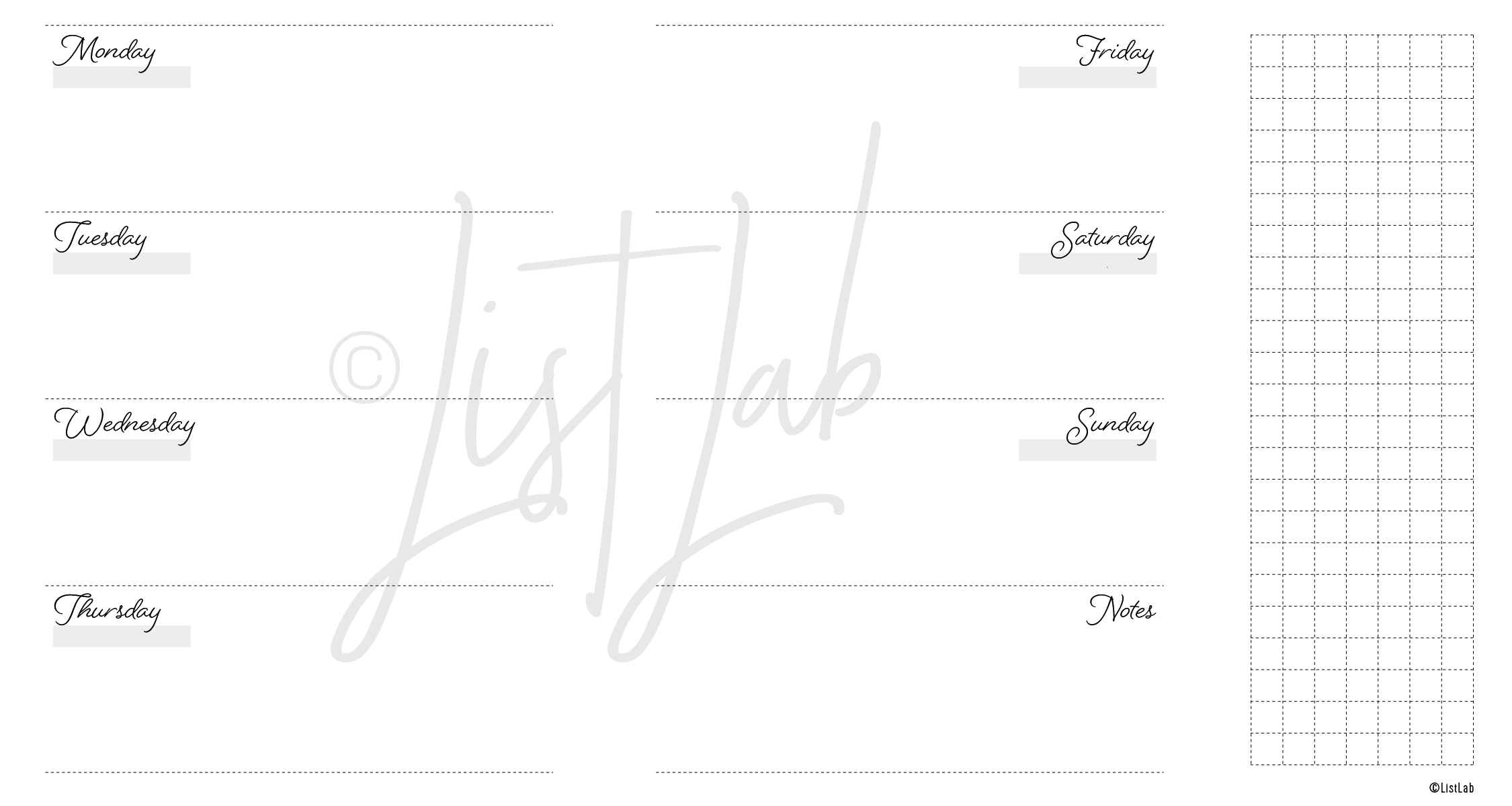 2-PAGE WEEKLY HORIZONTAL WITH GRID FLAP (WO2P H WITH FOLD)