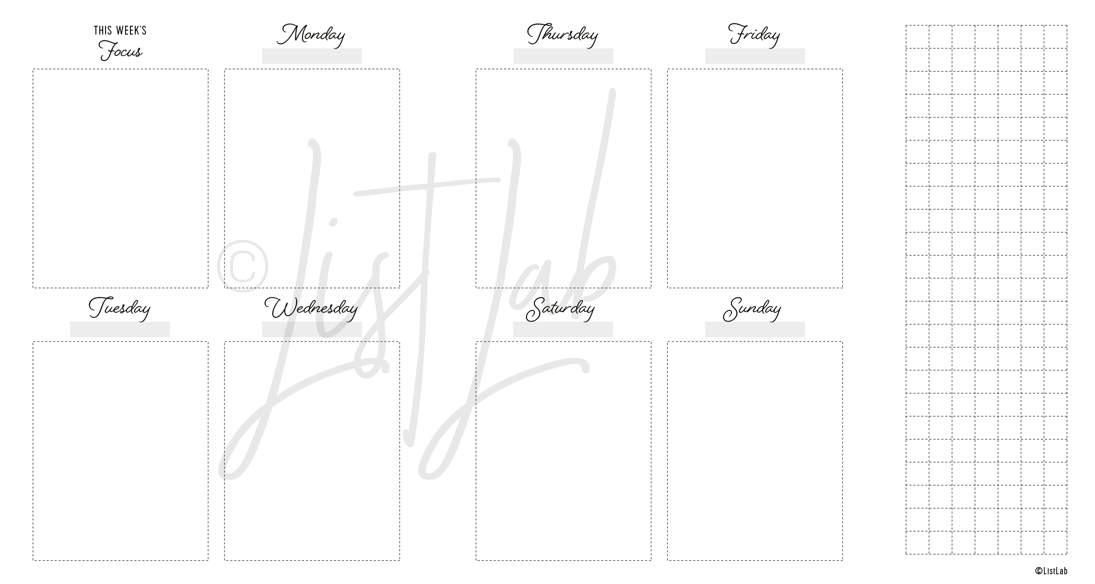 2-PAGE WEEKLY VERTICAL UNLINED WITH GRID FLAP (WO2P VU WITH FOLD)