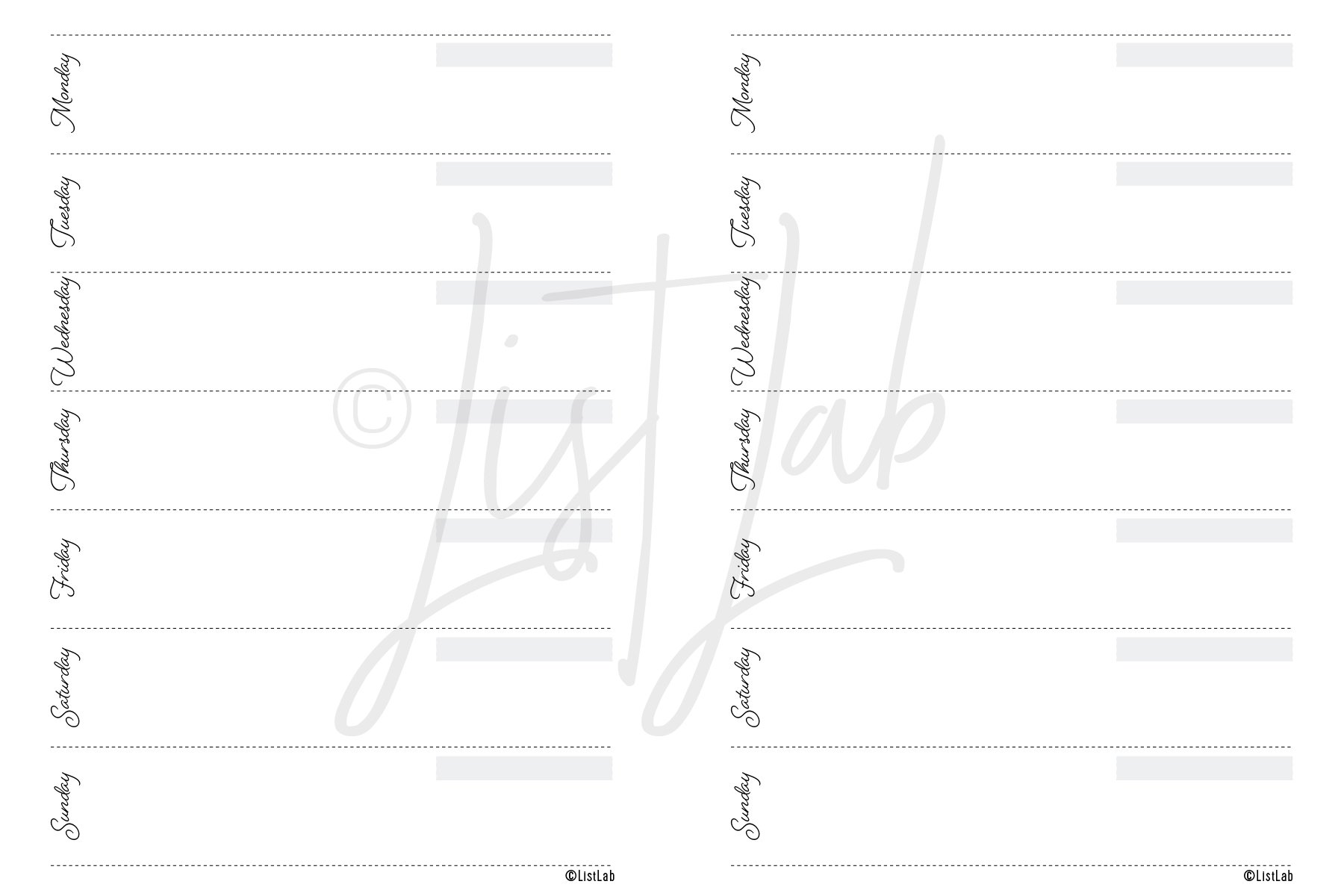 1-PAGE WEEKLY HORIZONTAL (WO1P WITH VARIATION)