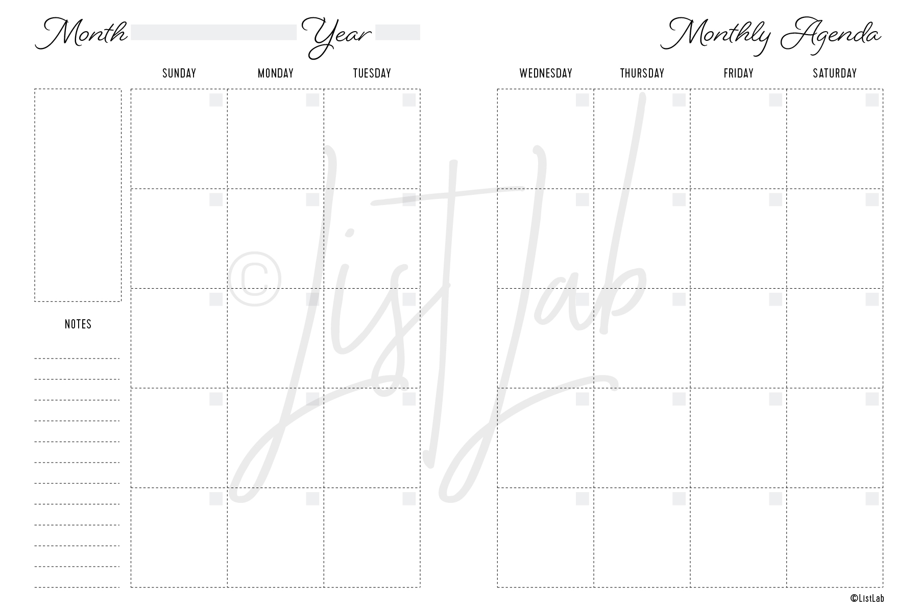 2-PAGE MONTHLY SUN TO SAT (MO2P SUN TO SAT)