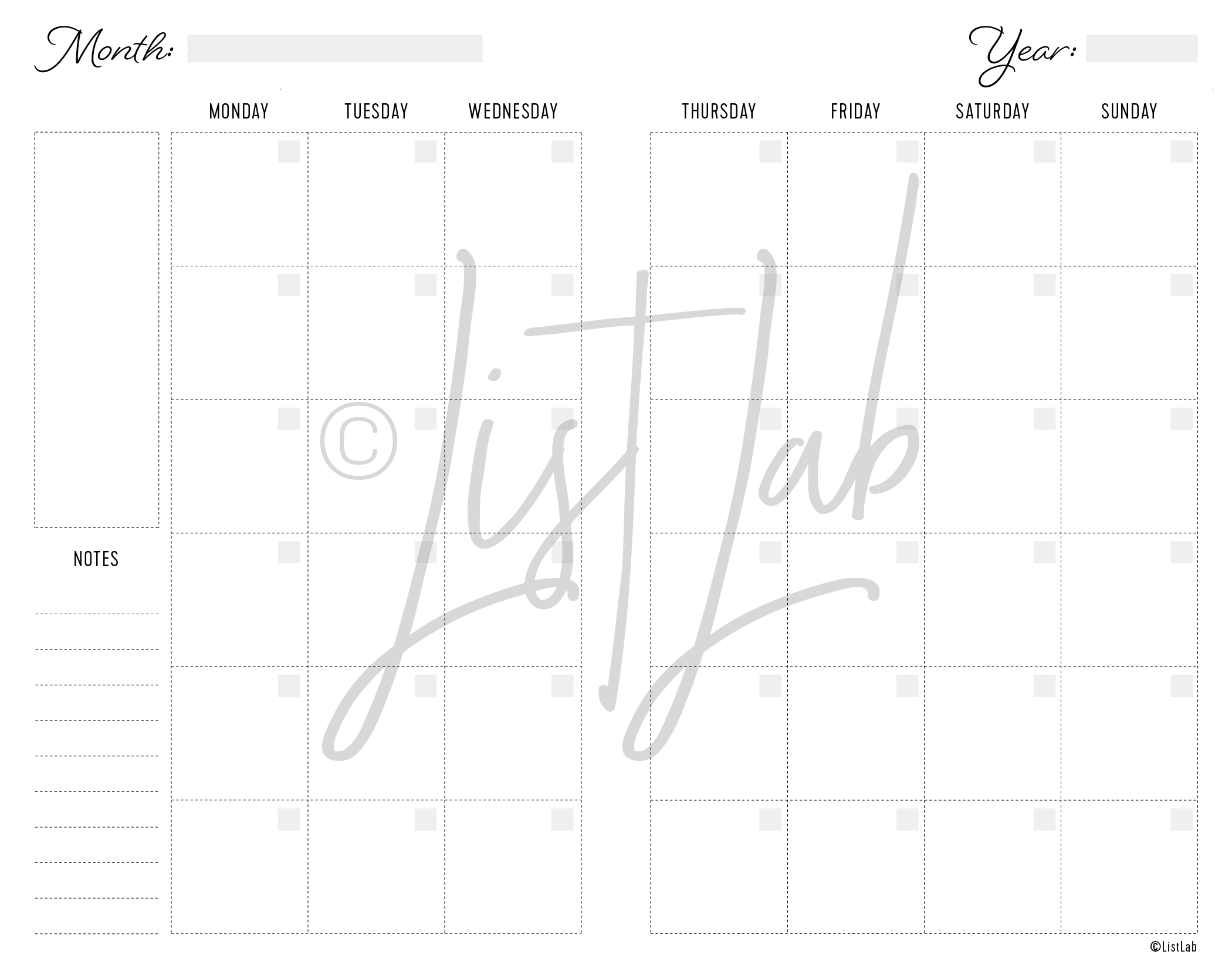 2-PAGE MONTHLY MONDAY START