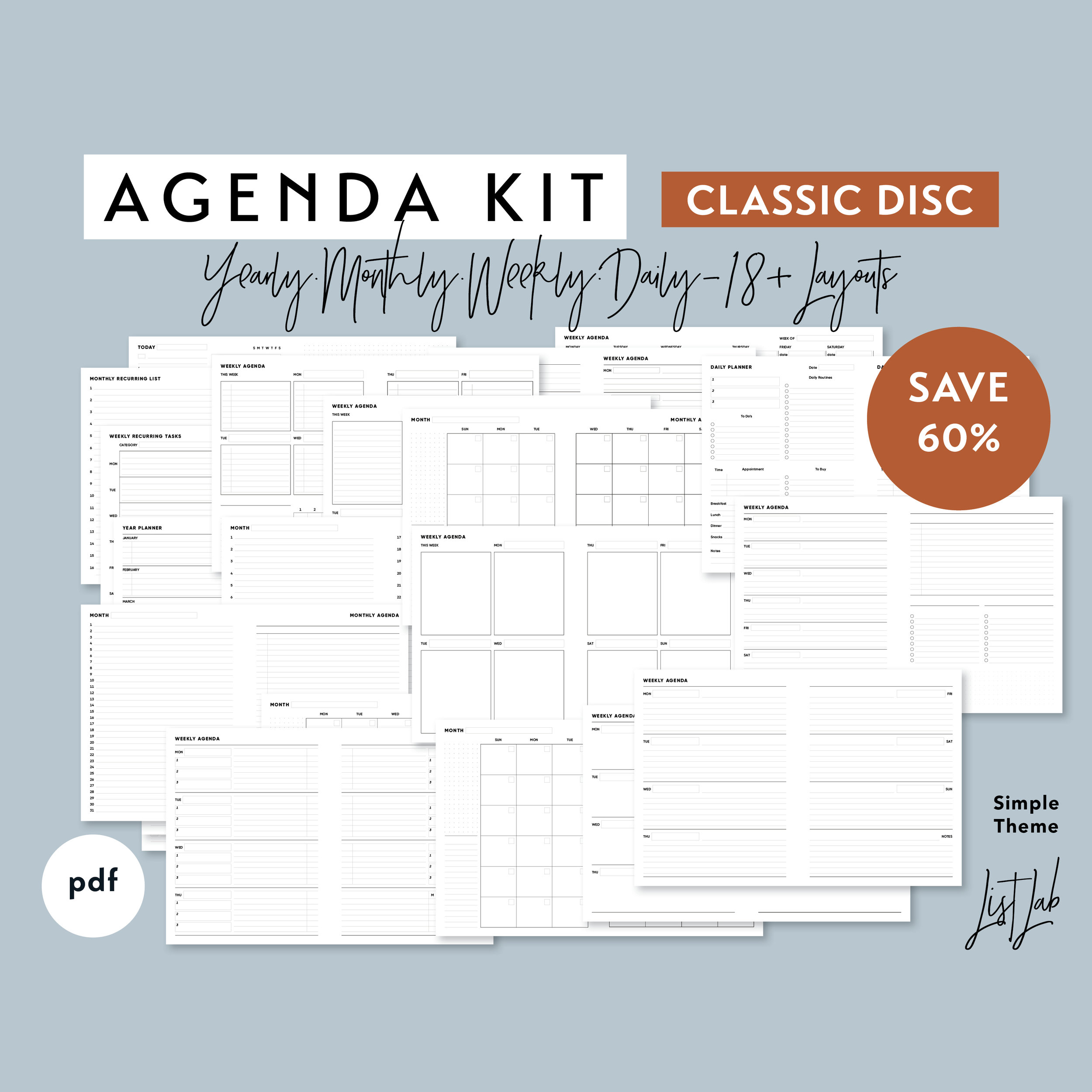 graphic relating to Discbound Planner Printables identified as Clic Dimensions Plan Package for Disc Sure Planner - Printable PDF - Uncomplicated Topic ListLab