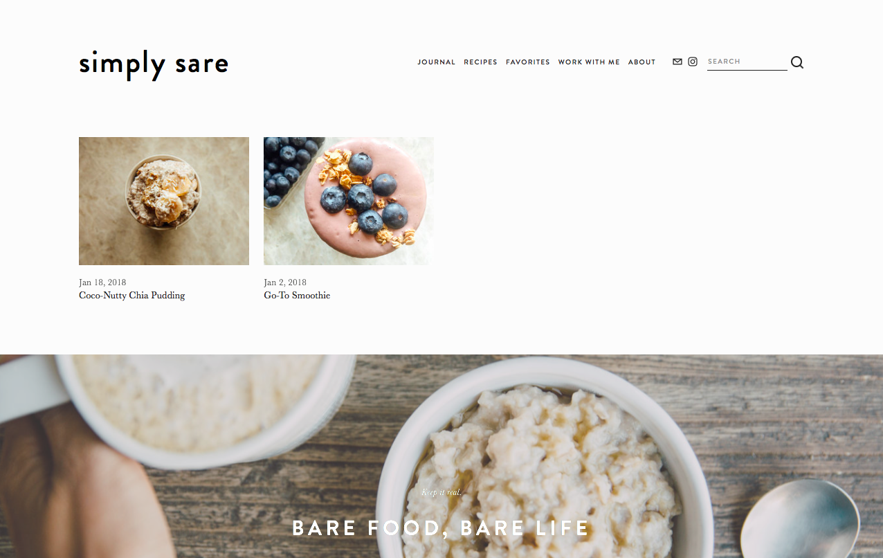 created web content + design for  Simply Sare