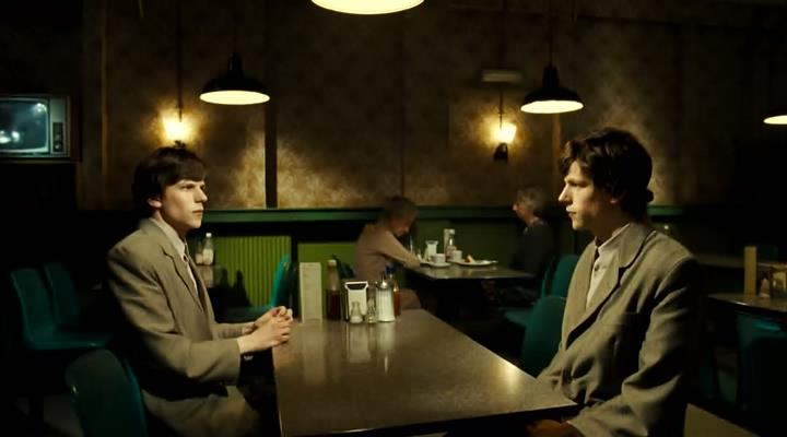 Eisenberg vs Eisenberg. From The Double directed by Richard Ayoade. Image courtesy of StudioCanal.