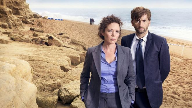 David tennant and Olivia Colman in Broadchurch. Image courtesy of ITV.