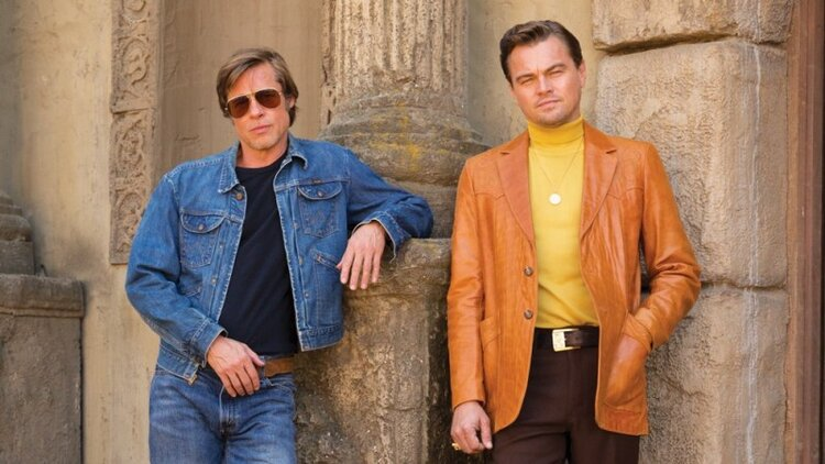Brad Pitt and Leonardo DiCaprio in Once Upon a Time in Hollywood, directed by Quentin Tarantino. Image courtesy of Sony Pictures.