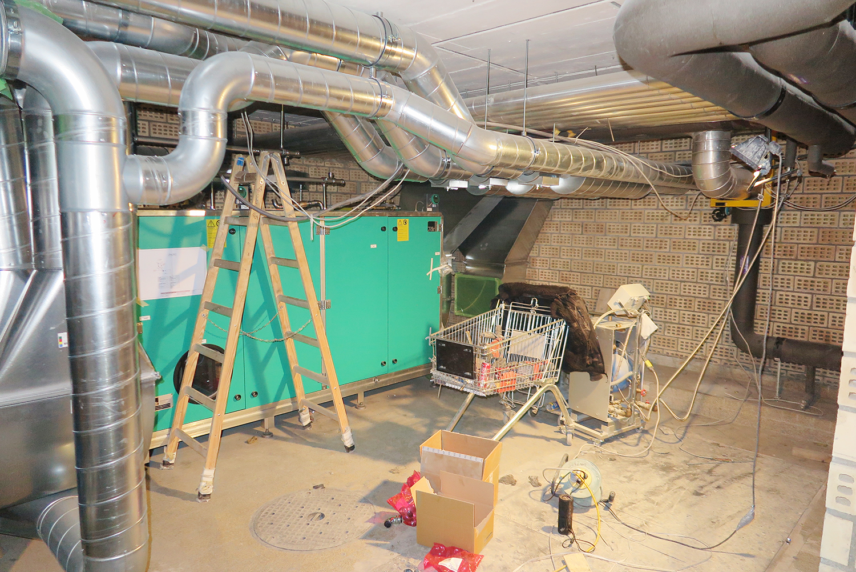 Lüftungsanlage während des Umbaus