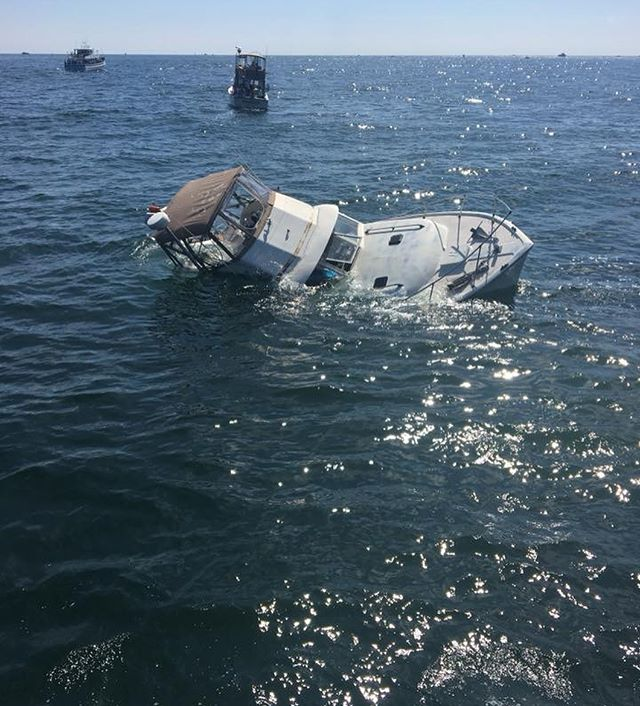 "An insane true story about a boat sinking FAST! While out in the open ocean, offshore in Montauk, New York. Having proper safety equipment and a floating ditch bag can save your life as well as your 7 guests on board🌊 Read below the U.S. Coast Guard Station Montauk, New York write up of the situation⬇️ ""At 1035 this morning the station received a call over VHF Channel 16 of a vessel taking on the water in the vicinity of Montauk Point. The station launched a 47-foot Motor Lifeboat at 1040, and arrived on scene to find the vessel mostly underwater and a Good Samaritan helping the people on the vessel onto their boat. The 7 people from the Good Samaritan's vessel were transferred onto the 47, and the 47 picked up anything that floated off the sunken vessel.  This reminds us of how quickly a situation can turn bad. We hope everyone has working bilge pumps and checks them regularly. Thank you to the captain and crew of the Good Samaritan vessel who assisted us this morning!"""