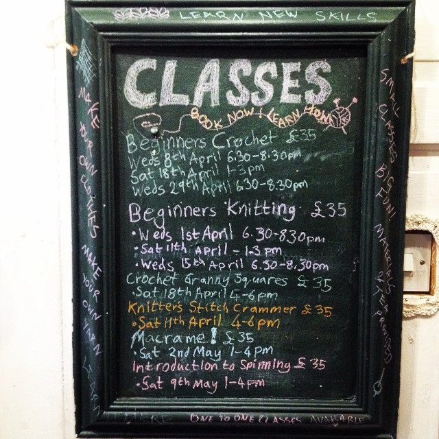 Just added loads of classes to the board! Book now, learn how :D #knit #crochet #macrame #spinning #skillz