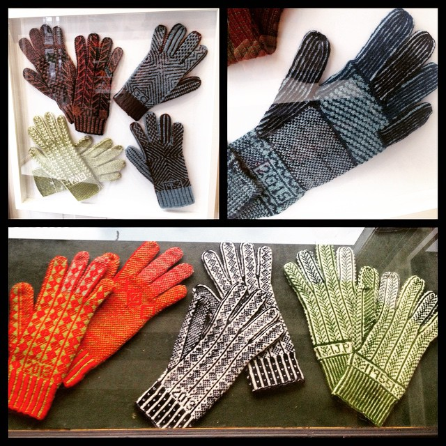 We have a new window display! Come and see Angharad Thomas's amazing knitted Sanquhar Gloves from now until April 11th. #knitting #gloves #Sanquhar #wool
