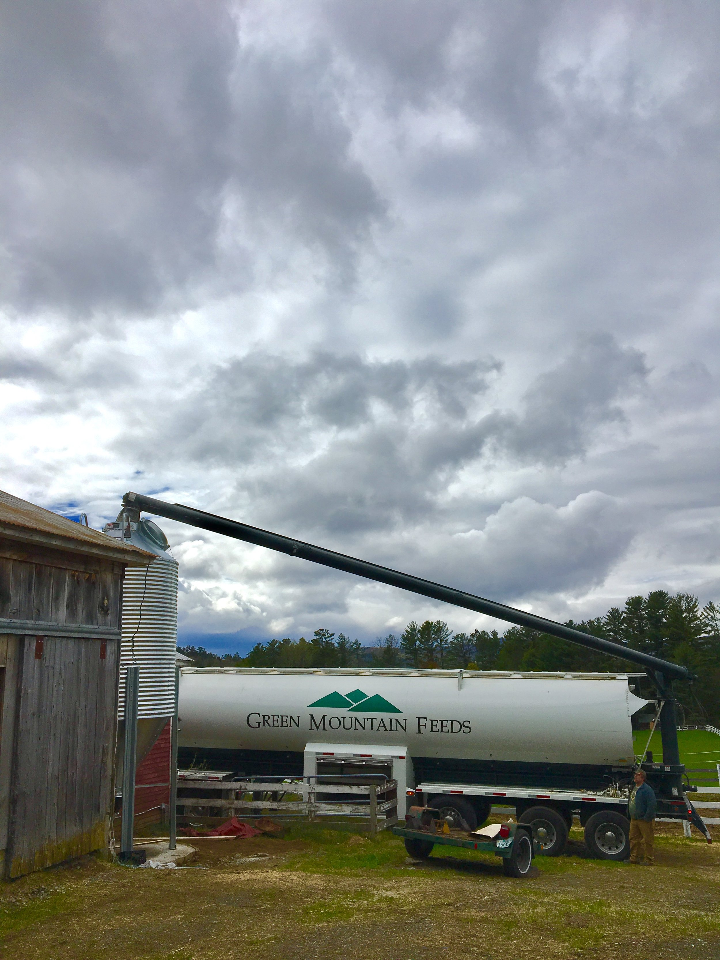 First delivery for the new silo: Green Mountain Feeds! NON-GMO pig feed!