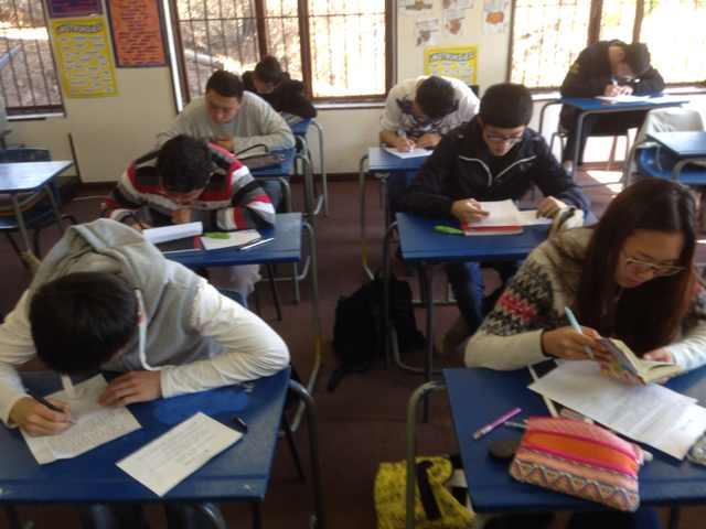 Students taking Chinese Exam at our school in Bedfordview.