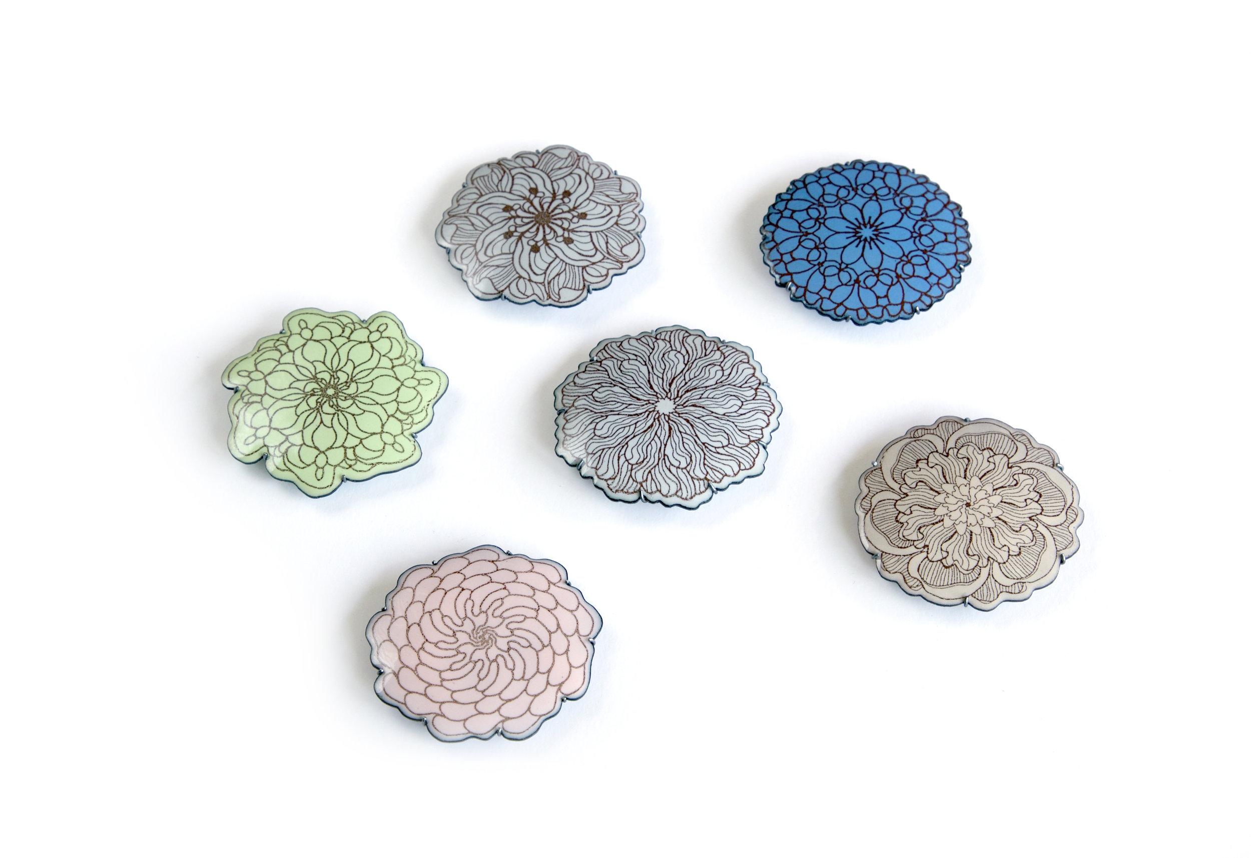 Norwegian Enamel Repossesed. 2016  Series of enamel brooches. Enamel, copper and silver.
