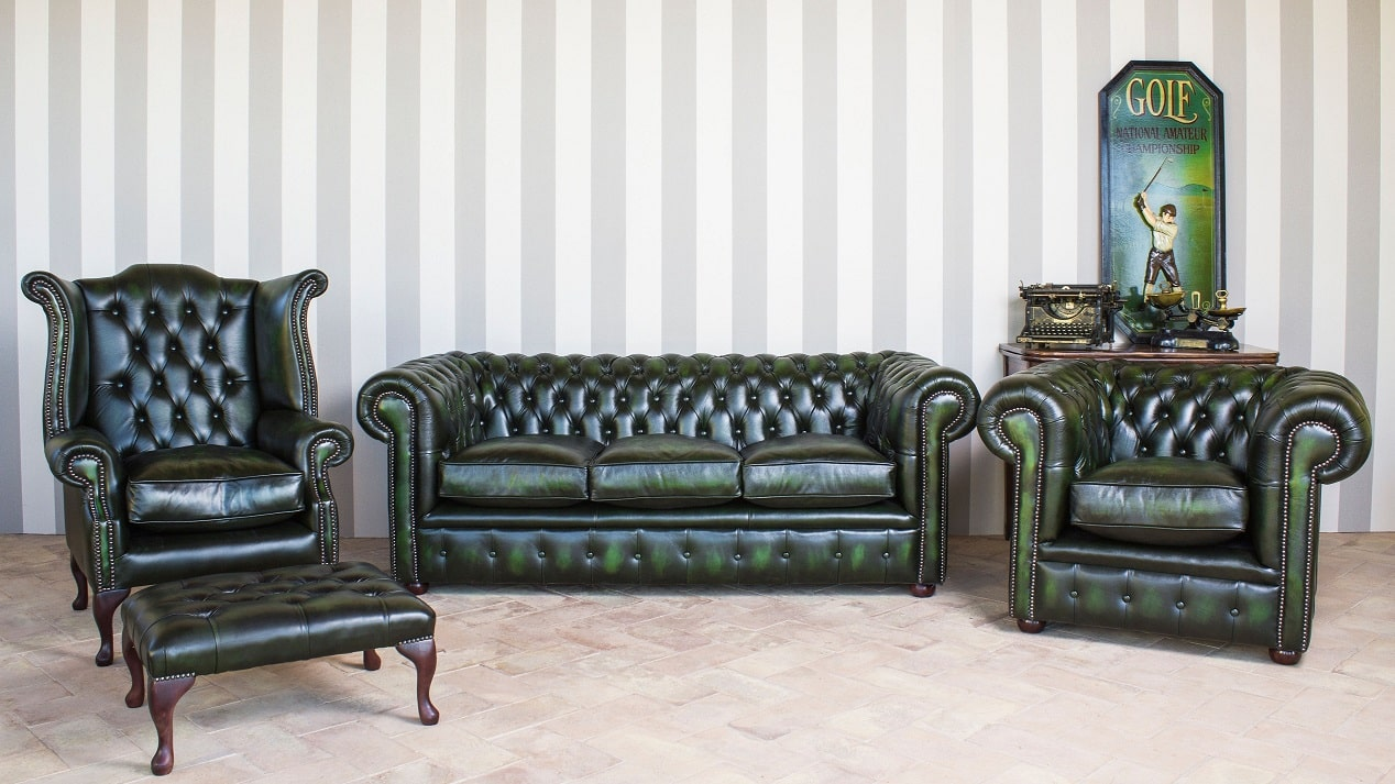 Set Chesterfield modello York rivestito in vera pelle color verde antico