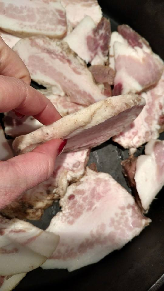 Next cut your jowl into strips, basing the thickness on your own tastes. We love it sliced thick!