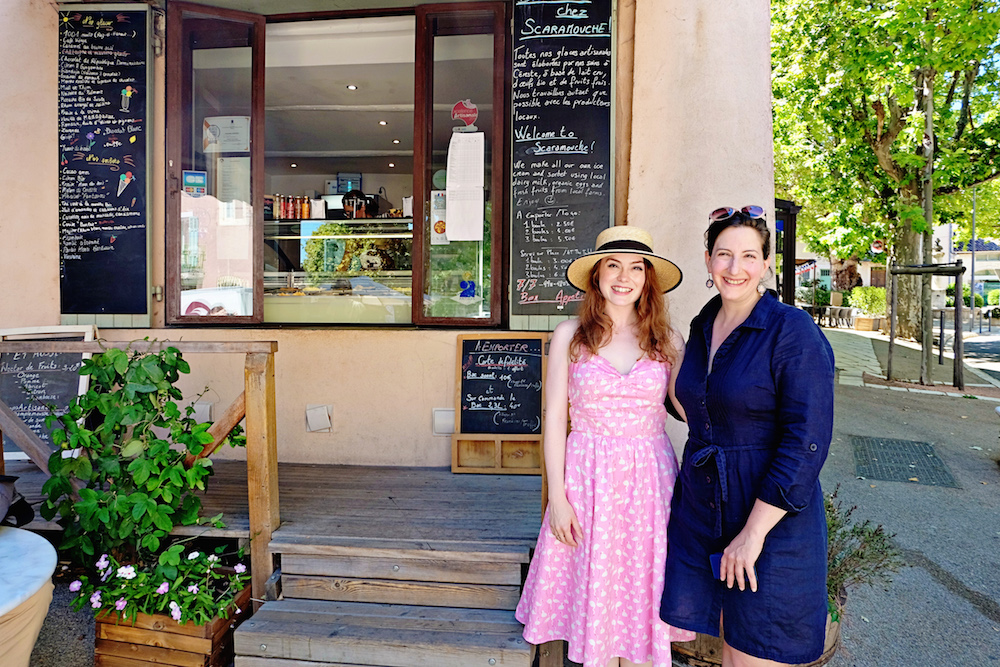 With Elizabeth Bard outside of her ice-cream shop, Scaramouche, in Provence, August 2016.