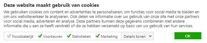 Voorbeeld 2 cookiemelding, waarbij alles is aangevinkt