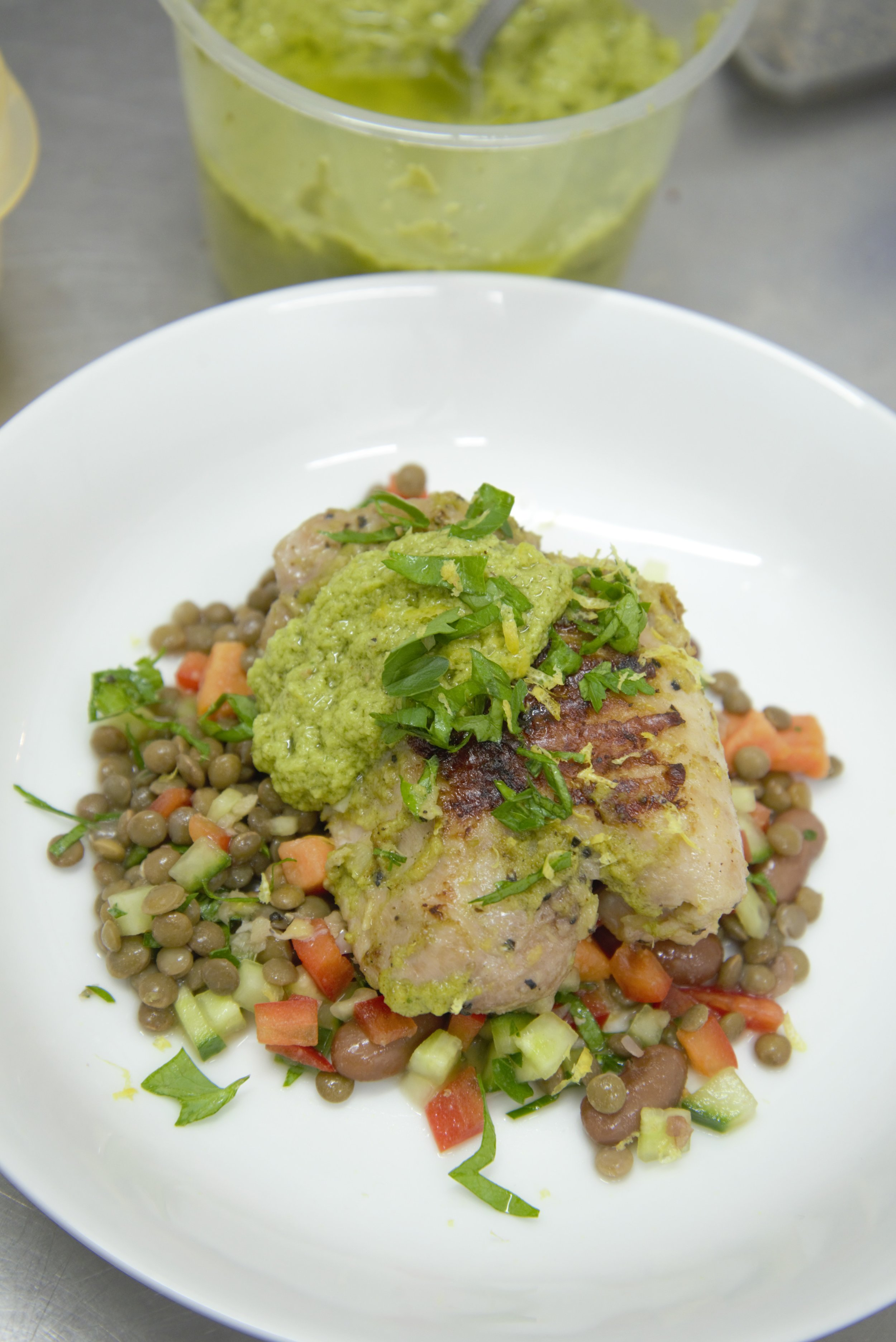 Grilled Chicken Thighs and Lentils