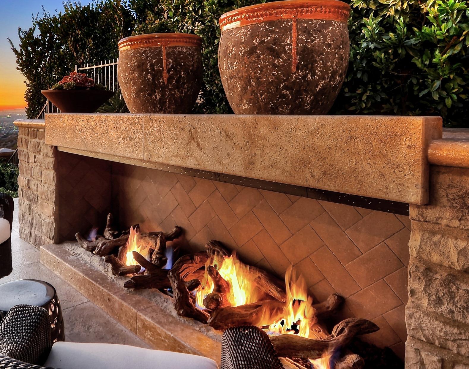 custom stone fireplace in newport harbor, ca