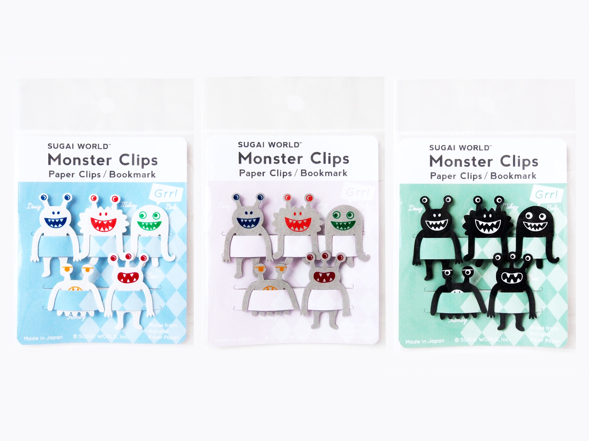 SUGAI WORLD : Monstre Clips ( White, Gray, Black)