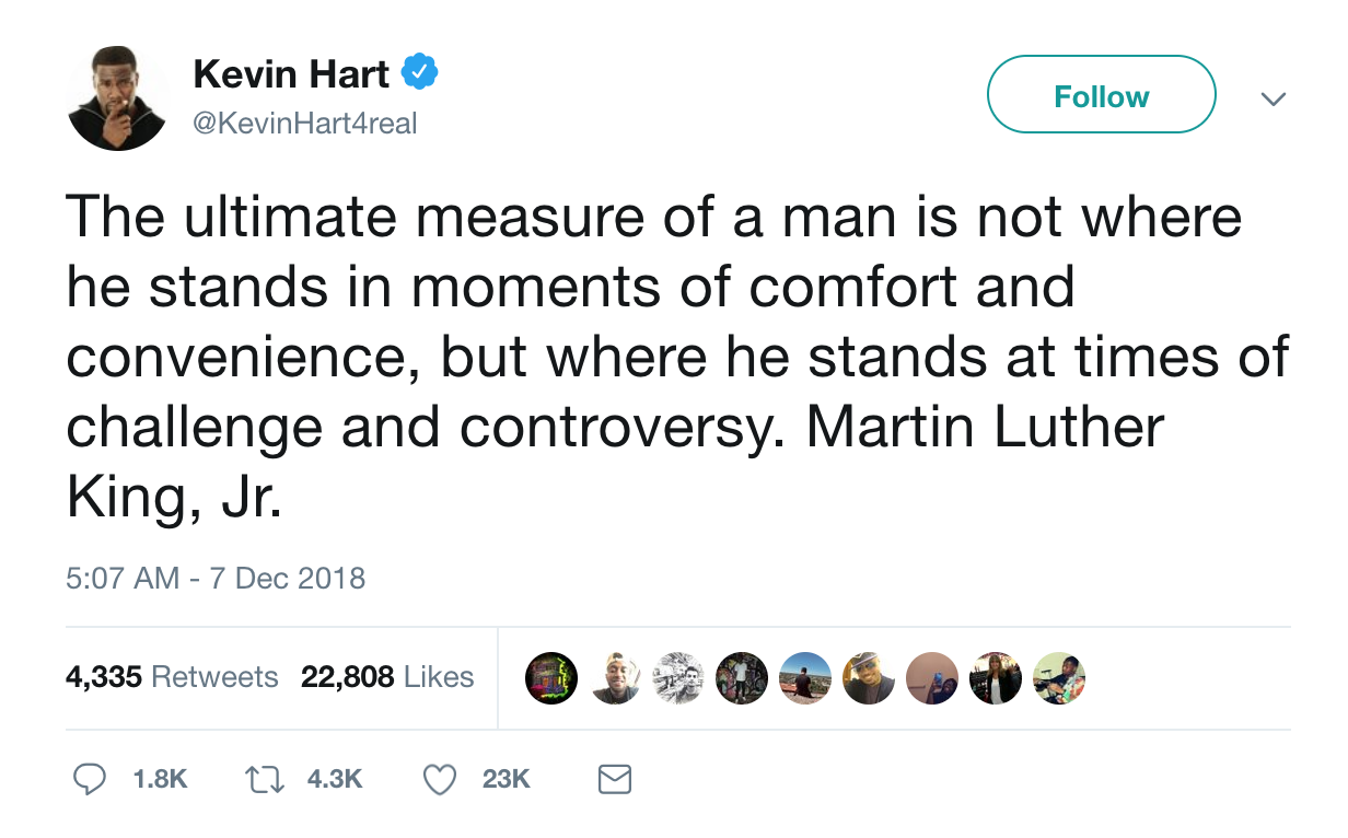 Sidenote: Why is it whenever a dude is acting a damn fool he feels the need to quote MLK Jr. Anyone else notice that?