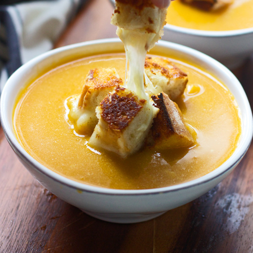 Butternut Squash Soup with Cheesy Croutons Recipe
