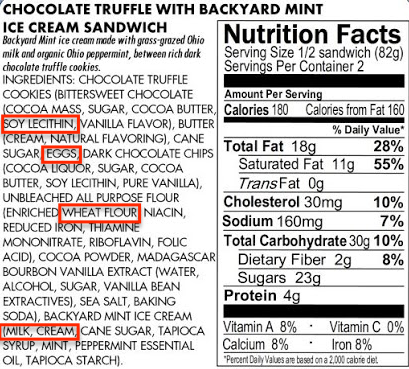Reading Food Allergy Labels Example 2