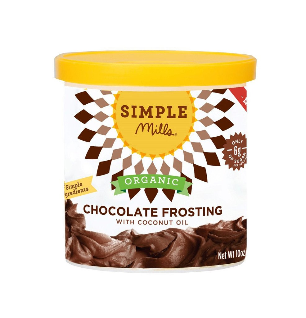 SPOKIN FAVORITE:  Our fave 'healthy-ish' frosting. Free of Gluten, Grains, Soy, Corn, Dairy & Gums/Emulsifiers and low in sugar.   Simple Mills Chocolate Frosting  8 SIMPLE INGREDIENTS:Organic Palm Shortening, Organic Powdered Sugar, Organic Cocoa Powder, Organic Coconut Oil, Vanilla Extract, Organic Rosemary Extract (for freshness), Sea Salt,Monk Fruit Extract