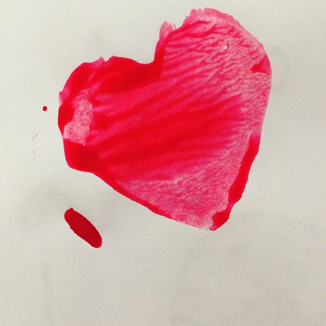 #happyvalentinesday ! We opted for potato stamp #valentines this year for Sweet Pea's class.