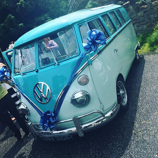 Now THAT's a wedding car we can get on board with!! #weddingcar #wedding #functionband #partyband #volkswagon #vwcampervan #cheshirewedding #bride #groom