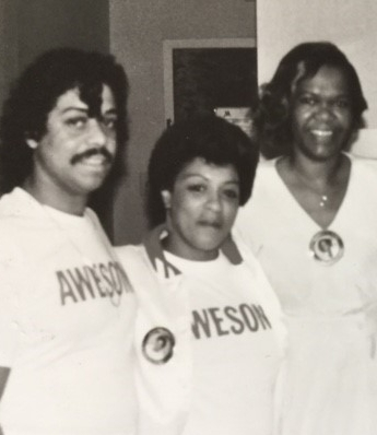 Janie Bradford, first right, in 1987 with Mirror PR clients