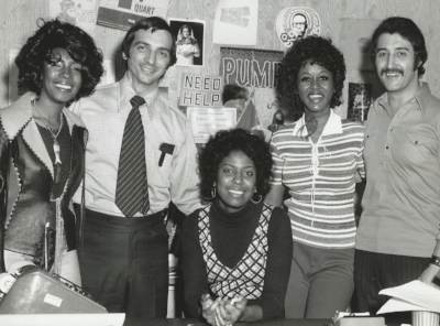 Cash Box's Mike Martucci (second left) and Anthony Lanzetta with Mary, Jean and Cindy of the Supremes