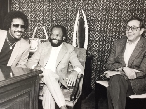 Jay Lasker at right, with Stevie and the chairman