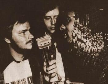 Seabear's Lars Nilsson (left) with Stevie Wonder