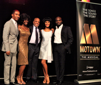 "Charles Randolph-Wright, Berry Gordy, Cedric Neal with ""Martha"" (Aisha Jawando) and ""Diana"" (Lucy St. Louis). Photo: Craig Sugden"