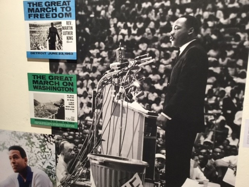 Rev. Martin Luther King on the Great March to Freedom, pictured at Cobo Hall, Detroit