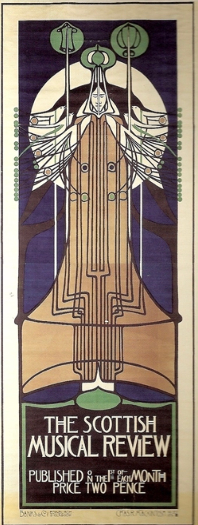 """Charles Rennie Mackintosh. Poster for the Scottish Musical Revue.Lithograph. 1896. 97"""" x 37"""". Acquired by the Los Angeles County Museum of Art from the Reinhold-Brown Gallery."""