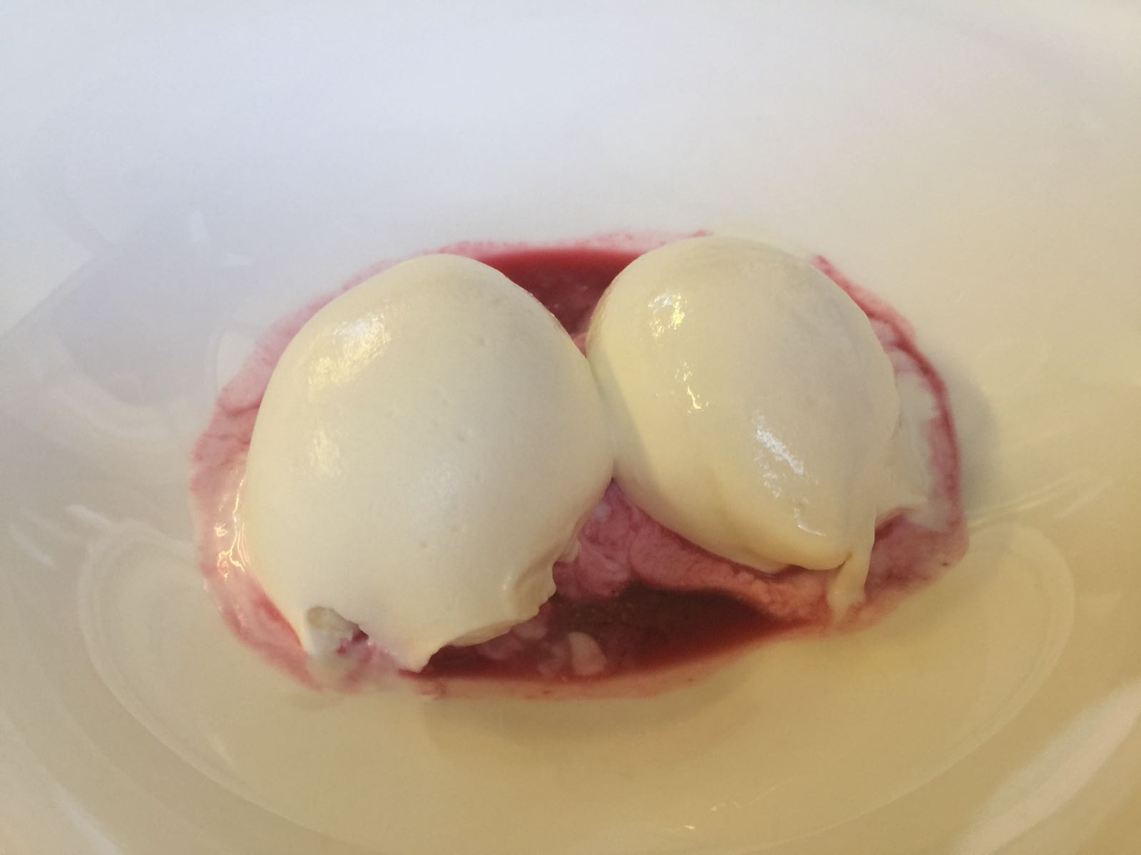 Cheese Ice Cream with Red Fruit  Coulis