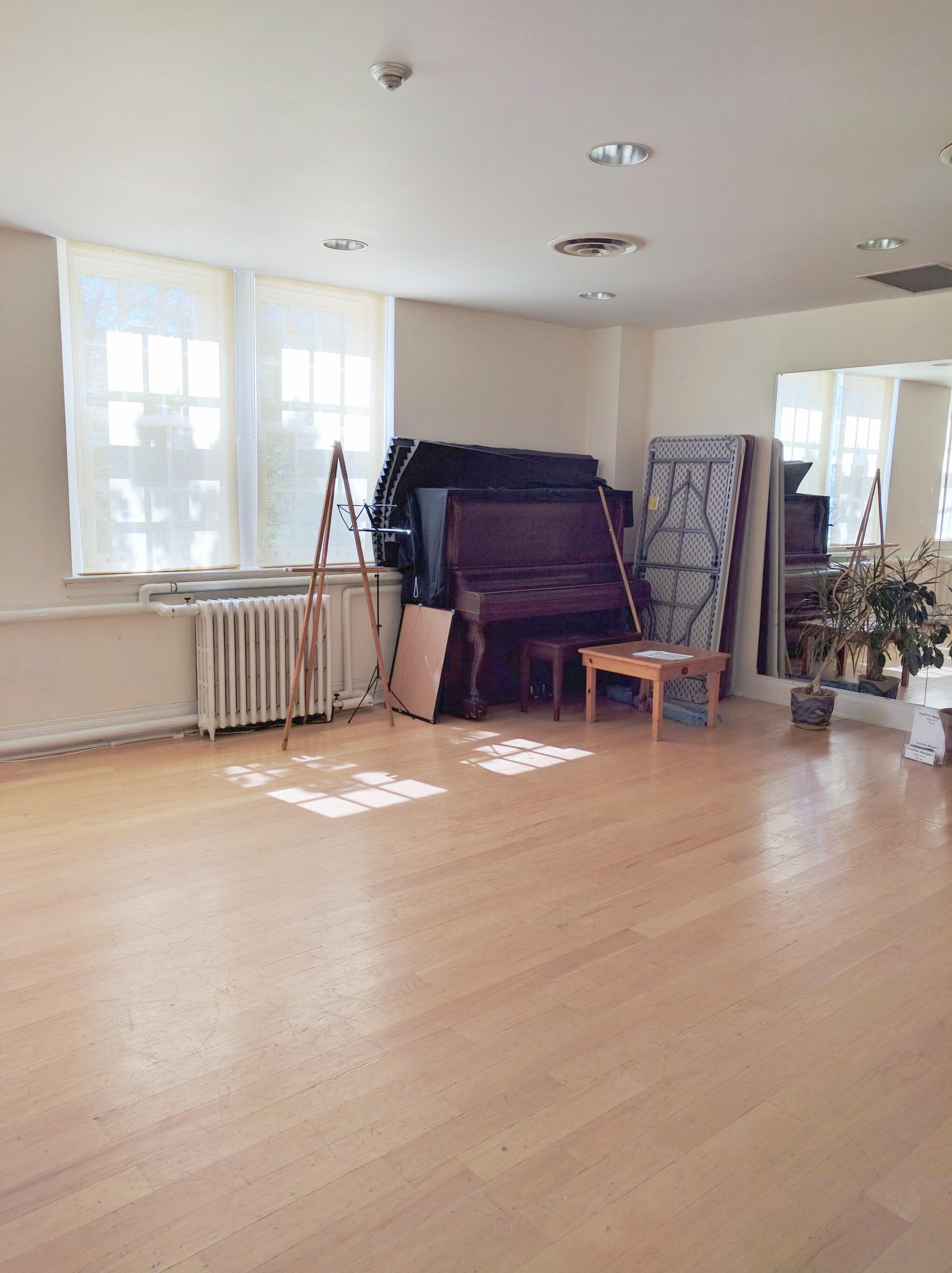 View of Piano in studio D.