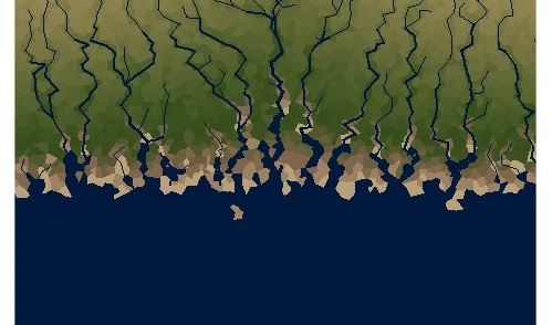 Outcome for linear coastline with high erosion and low deposition.
