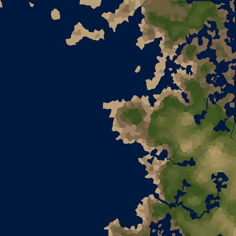 Terrain after some iterations with emphasized deposition.
