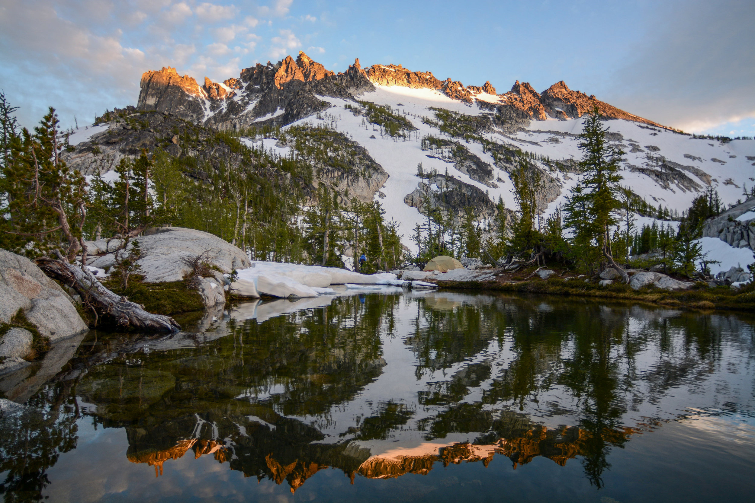 I love this campsite. I have spent many nights there, watching alpenglow set these peaks on fire. In recognition of that, I won't be applying for permits to visit it for several years so that others can go in my stead. I hope they enjoy it just as much as I have.