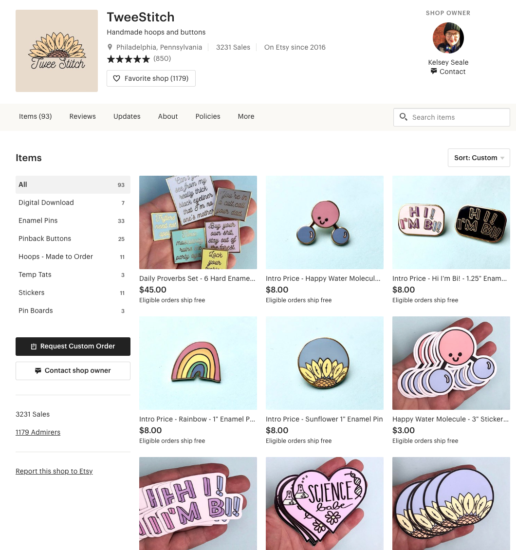 Screenshot of TweeStitch's etsy page