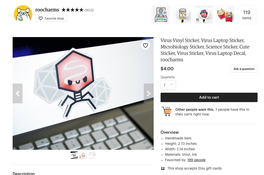 Screenshot of the etsy page
